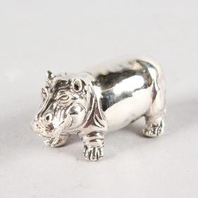 A Small Silver Novelty Hippo