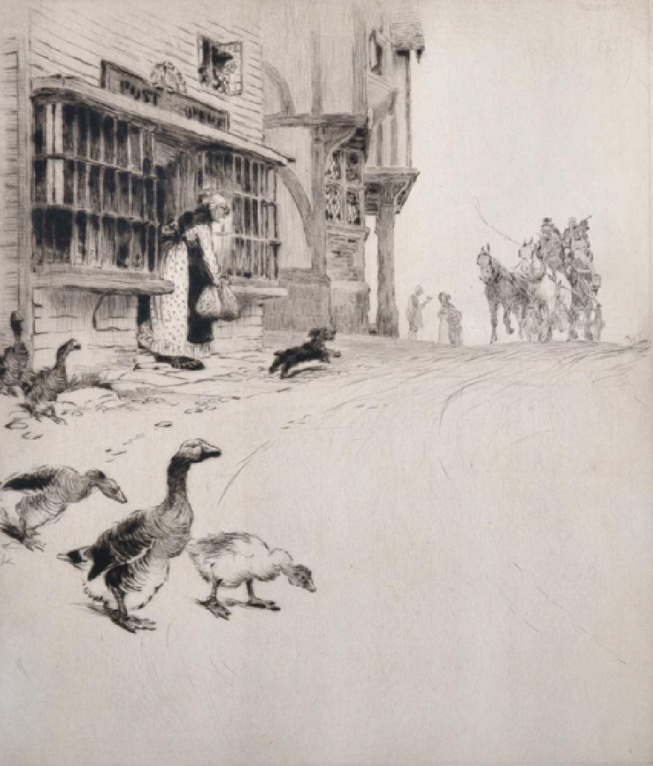 Cecil Aldin (1870-1935) British. Ducks Crossing a Path