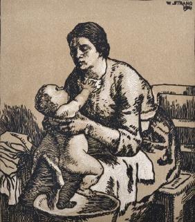 William Strang (1859-1921) British. 'Mother and Child',