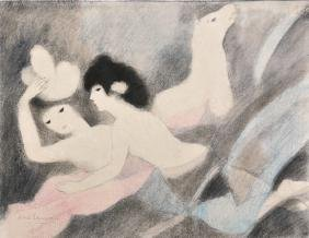 Marie Laurencin (1883-1956) French. Two Girls on a Bed,