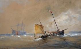 "Thomas Bush Hardy (1842-1897) British. ""Off Whitby"", a"