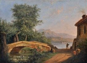 19th Century Italian School. A River Landscape with a