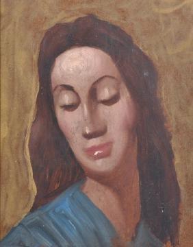 20th Century French School. Head Study of a Lady, Oil