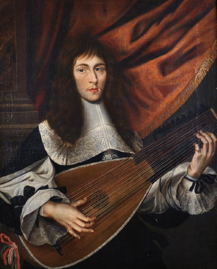 17th Century French School. 'The Lute Player', a