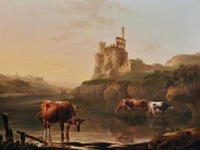 """Charles Towne (1763-1840) British. """"Cattle Watering in"""