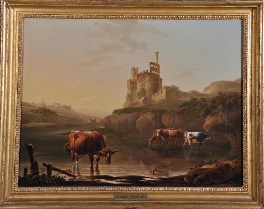 """Charles Towne (1763-1840) British. """"Cattle Watering in - 2"""
