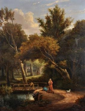 19th Century English School. A River Landscape, with