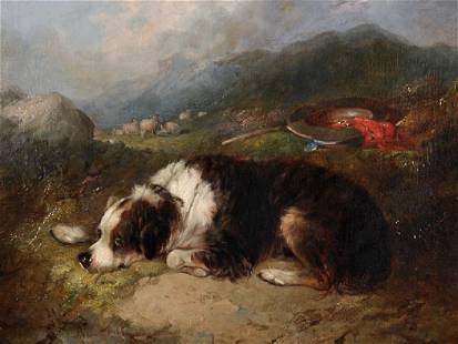 George Armfield (1808-1893) British. A Spaniel Resting