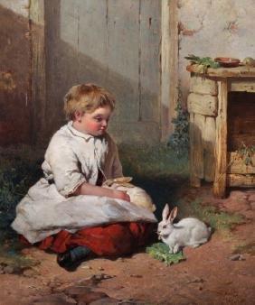 "James Cassie (1819-1879) British. ""The Pet Rabbits"", A"