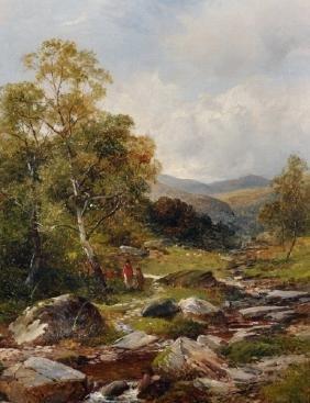"David Bates (1840-1921) British. ""Near Arddarrach"""