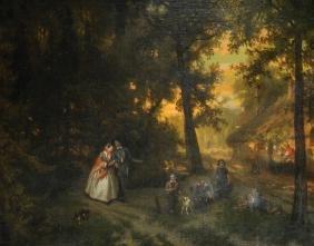 """Florent Nicolas Crabeels (1829-1896) Belgian. """"Park"""