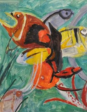 """Mildred Bendall (1891-1977) French. """"Poisson's a"""