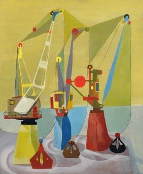 20th Century English School. 'Three Cranes', Oil on