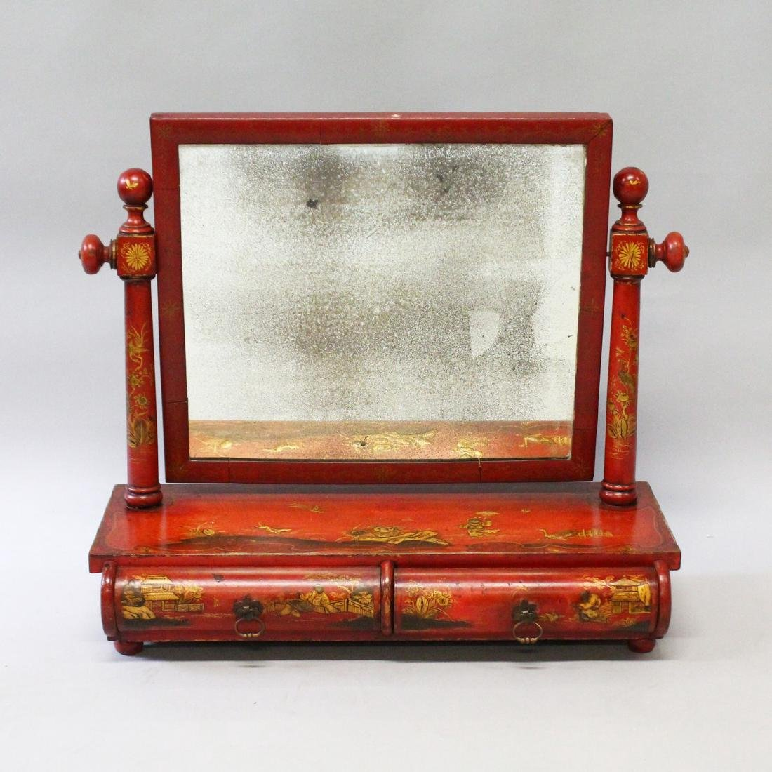A 19th CENTURY LACQUER DRESSING MIRROR with red lacquer
