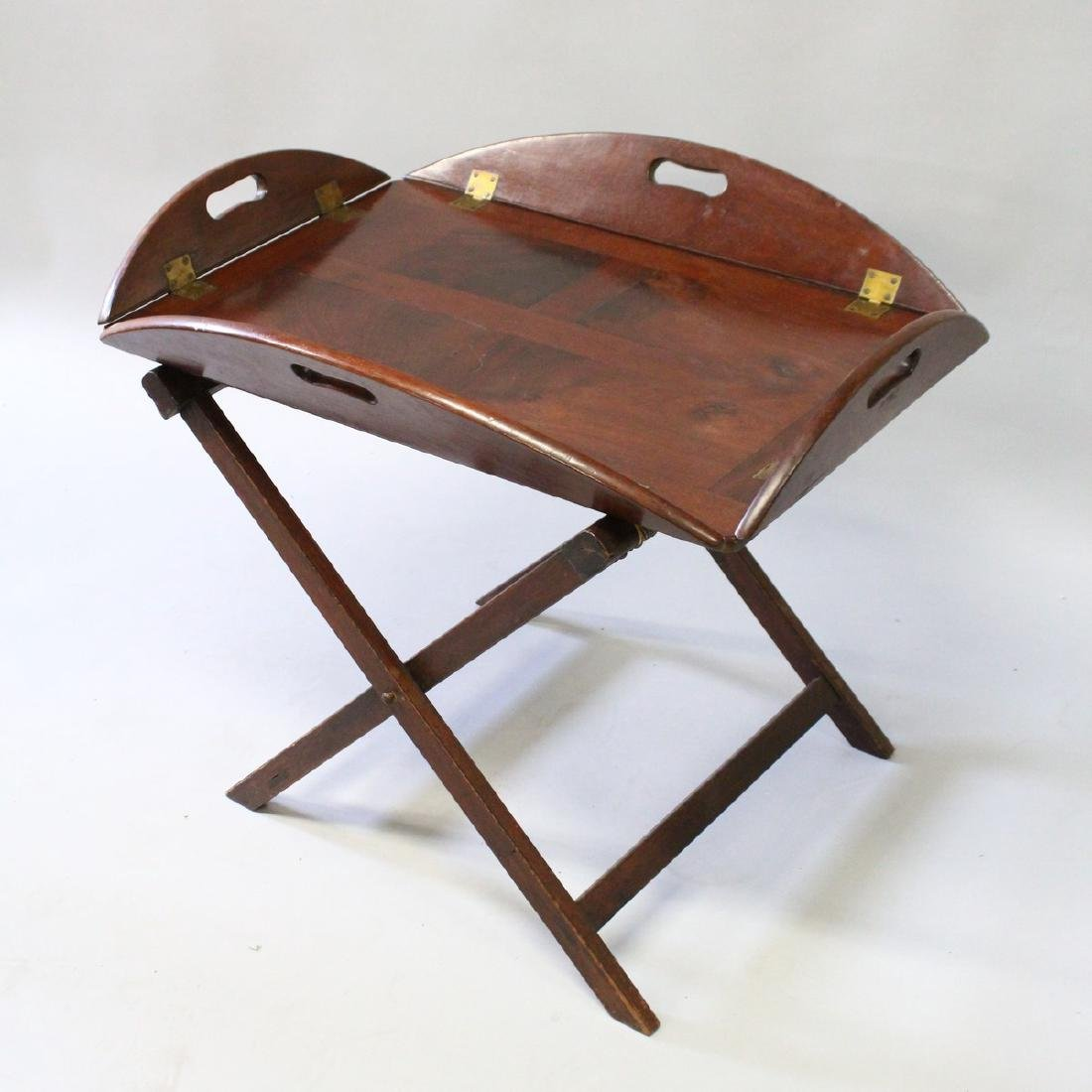 A BUTLER'S 19th CENTURY MAHOGANY TRAY ON STAND with