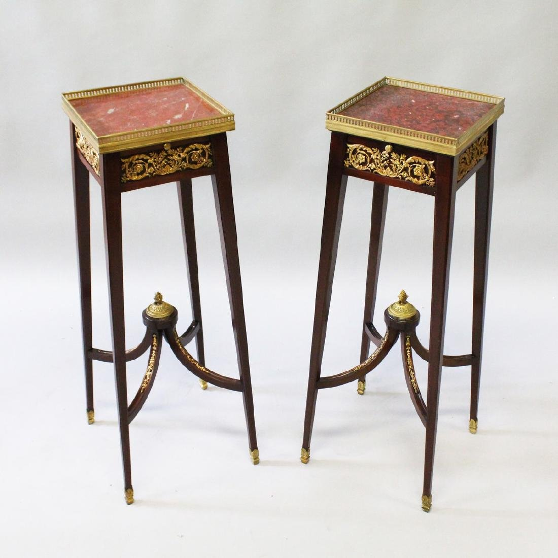 A GOOD PAIR OF 19th CENTURY FRENCH MAHOGANY SQUARE TOP