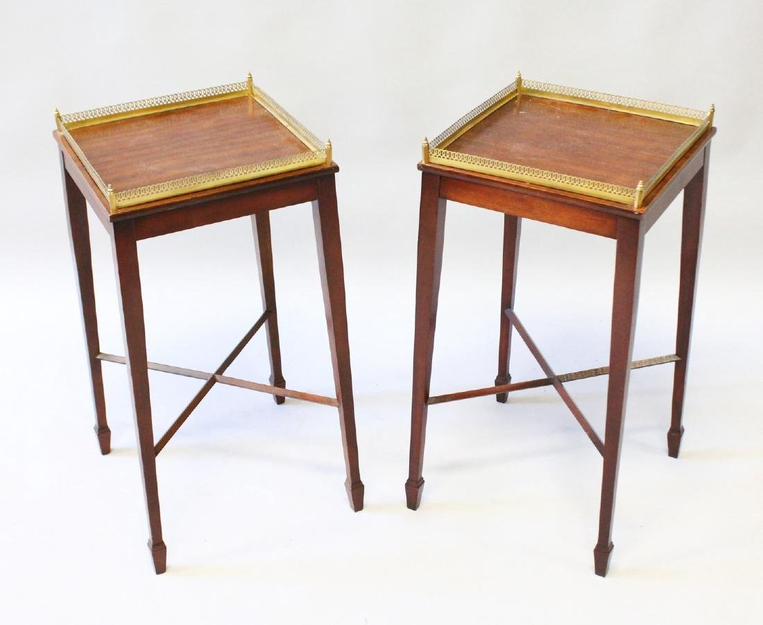 A SMALL PAIR OF 19th CENTURY SQUARE TOP URN TABLES with