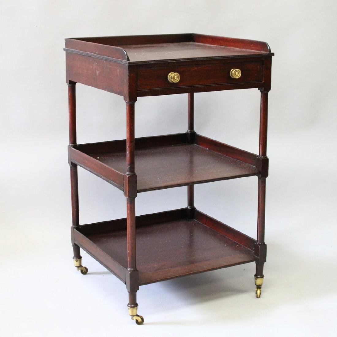 A 19th CENTURY MAHOGANY WHATNOT with gallery and single