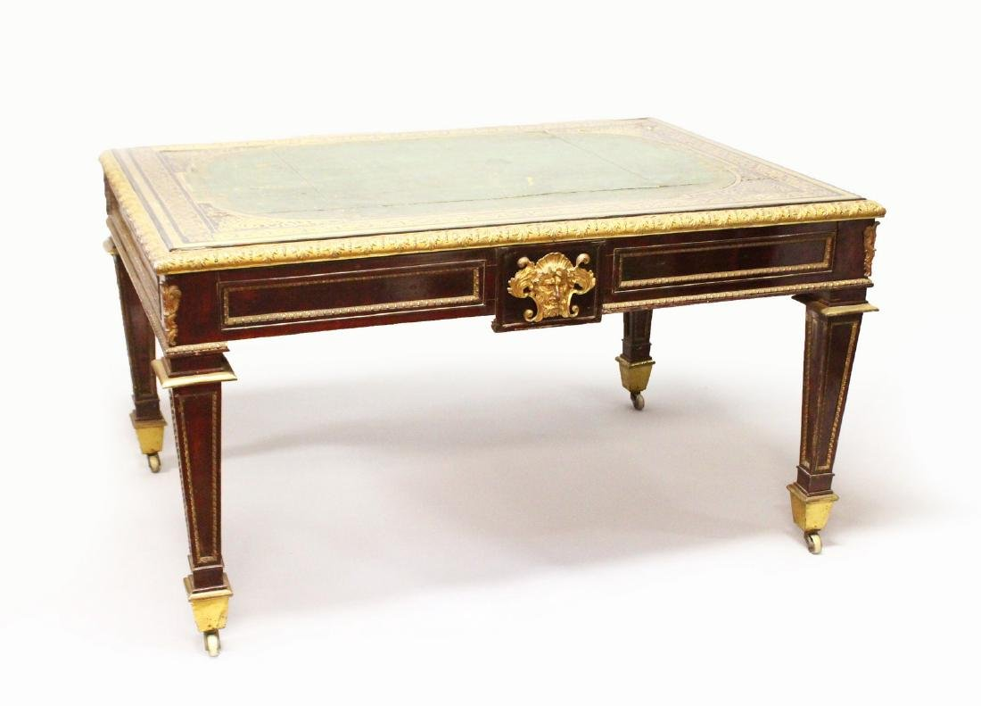A REGENCY ROSEWOOD, BRASS MARQUETRY AND PARCEL GILT