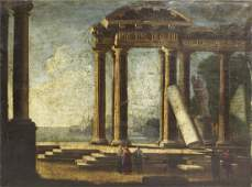 Late 18th Century Italian School Figures by Ruins Oil