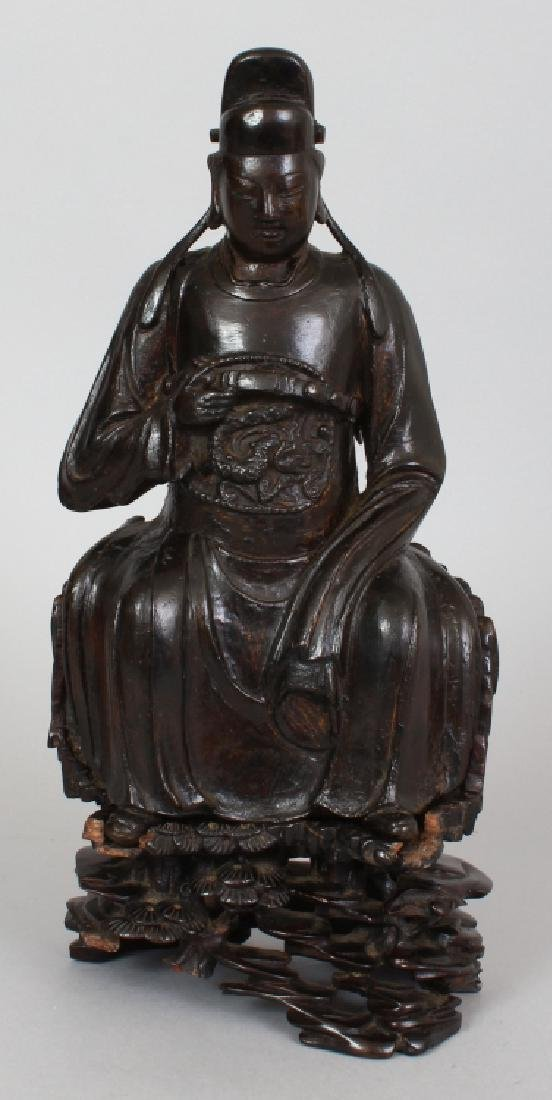 A GOOD CHINESE MING DYNASTY BRONZE FIGURE OF A SEATED