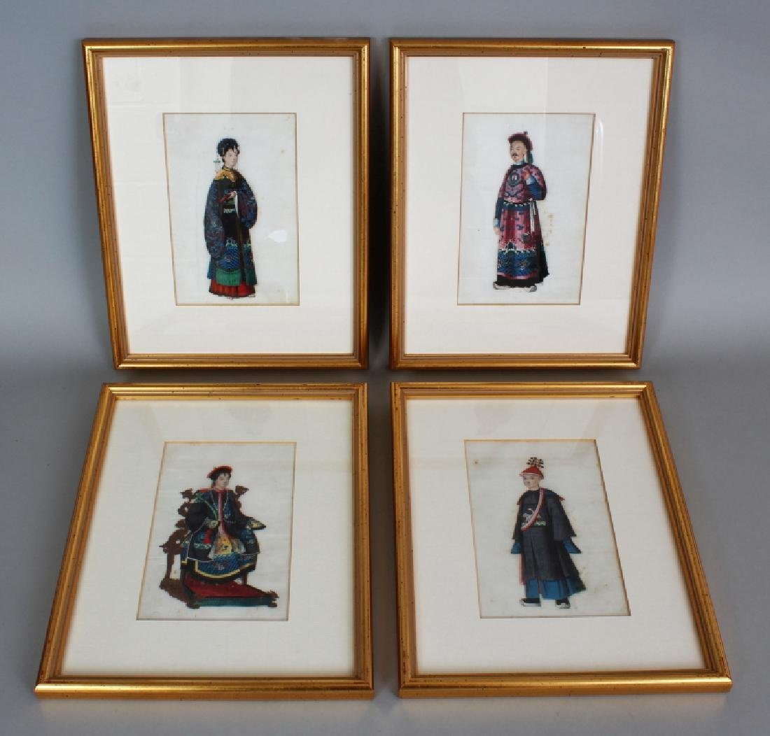 A SET OF FOUR 19TH CENTURY CHINESE FRAMED PAINTINGS ON