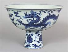 A LARGE CHINESE MING STYLE BLUE & WHITE PORCELAIN