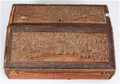 A 19TH CENTURY INDIAN CARVED SANDALWOOD WRITING BOX