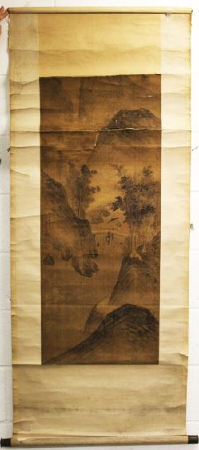A Chinese Scroll Painting On Silk, 19th Century Or