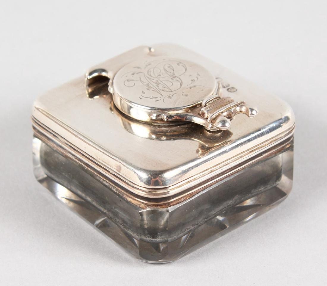 A GEORGE III SILVER MOUNTED SQUIRREL INKWELL.  London