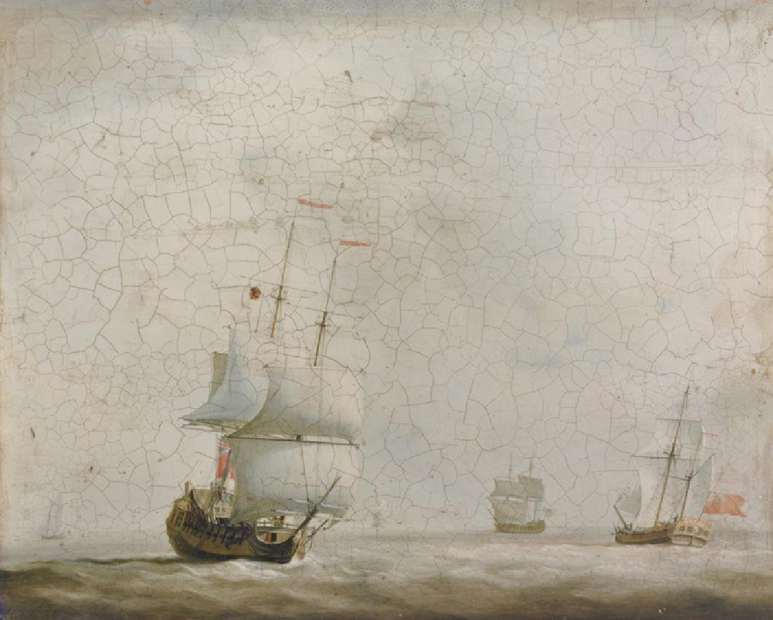 20th Century English School. A Shipping Scene, Print,