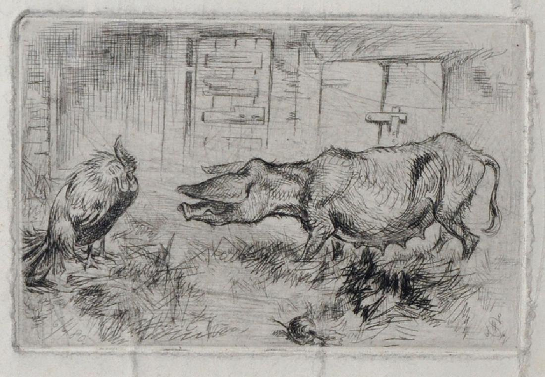 19th Century English School. A Pig and a Cockerel in a