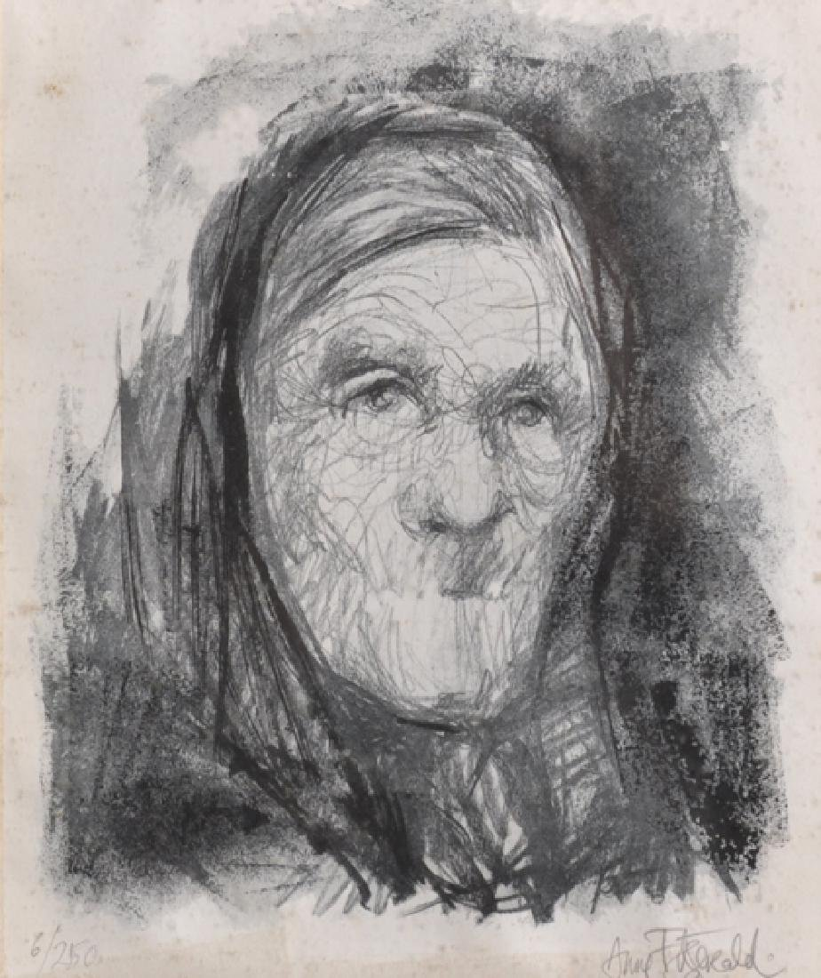 Anne Fitzgerald (20th Century) British. Head of an Old