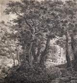 19th Century English School. A Wooded River Landscape,