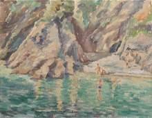 20th Century English School. Children Bathing in a