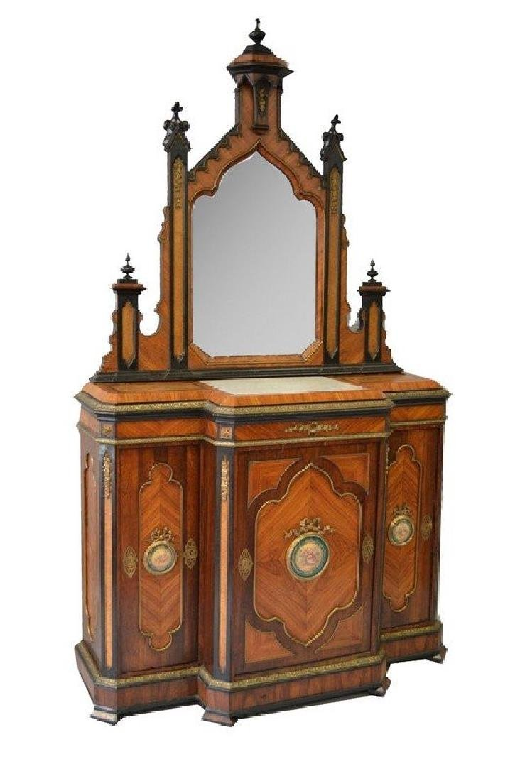 A GOOD 19TH CENTURY KINGWOOD GOTHIC DESIGN CABINET,