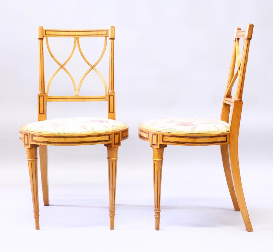 A PAIR OF LATE 19TH CENTURY SATINWOOD AND ROSEWOOD