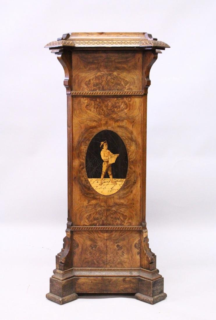 A VERY GOOD SORRENTO INLAID WALNUT STAND with a large