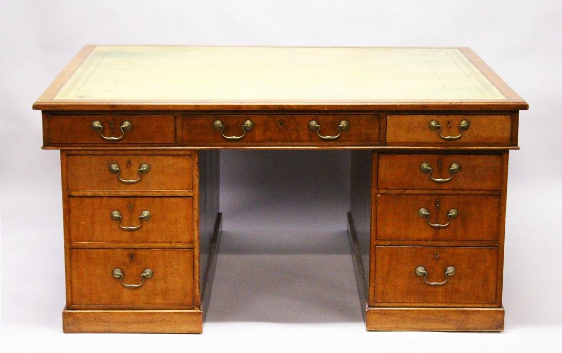 A LARGE GEORGIAN MAHOGANY PEDESTAL DESK, the top with
