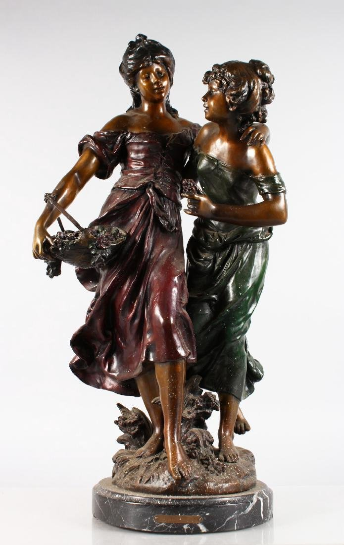 AUGUSTE MOREAU  A GOOD LARGE BRONZE GROUP OF TWO PRETTY