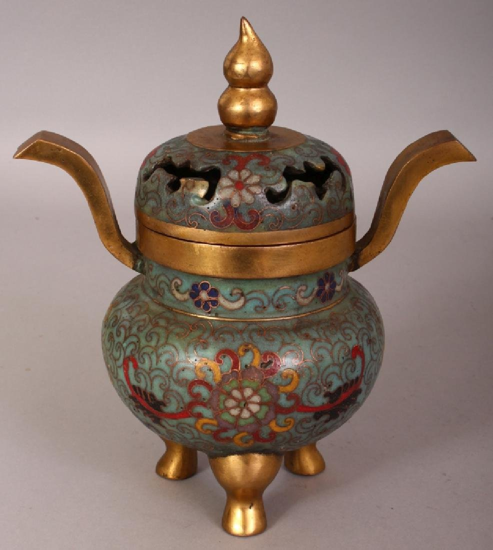 A 20TH CENTURY CHINESE CLOISONNE TRIPOD CENSER & COVER,