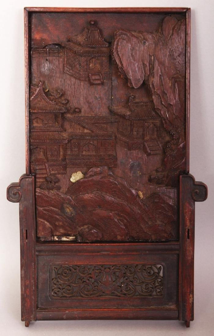 A 19TH/20TH CENTURY CHINESE CARVED WOOD TABLE SCREEN,