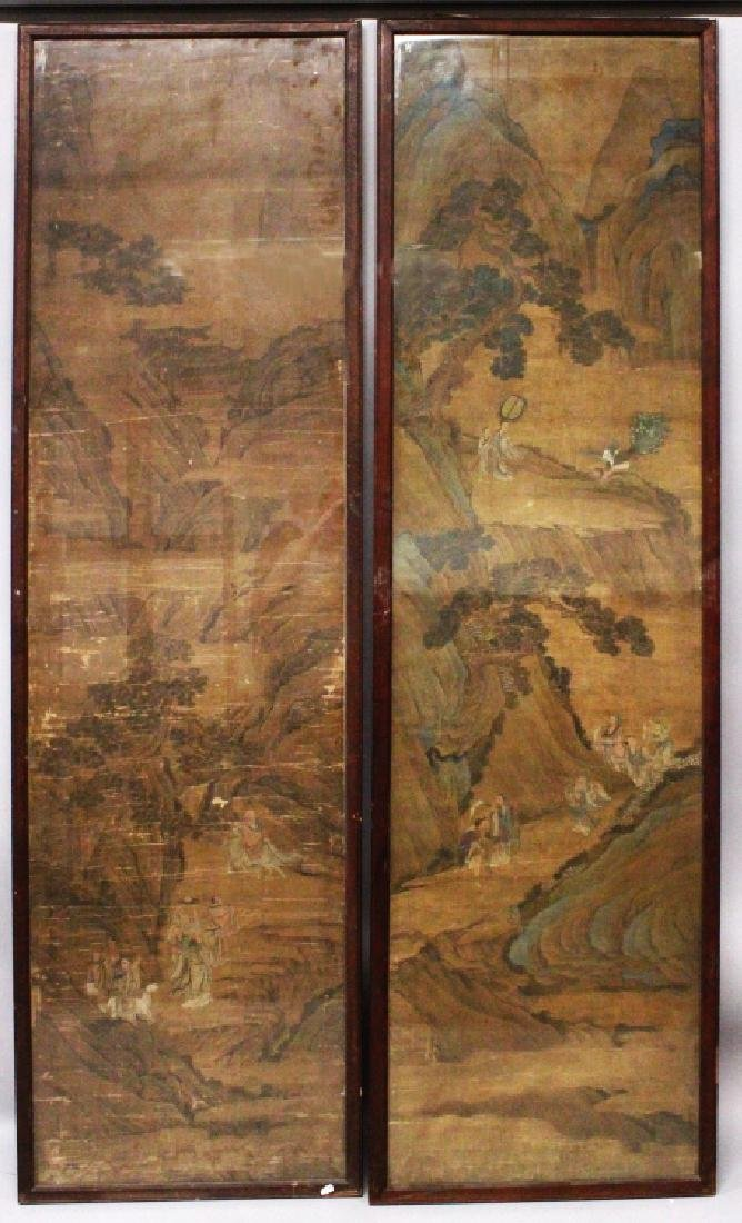 A VERY LARGE PAIR OF 17TH/18TH CENTURY FRAMED CHINESE