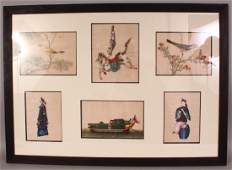 A FRAMED PICTURE CONTAINING SIX 19TH CENTURY CHINESE
