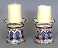 AN UNUSUAL PAIR OF CHINESE CANTON ENAMEL CANDLE