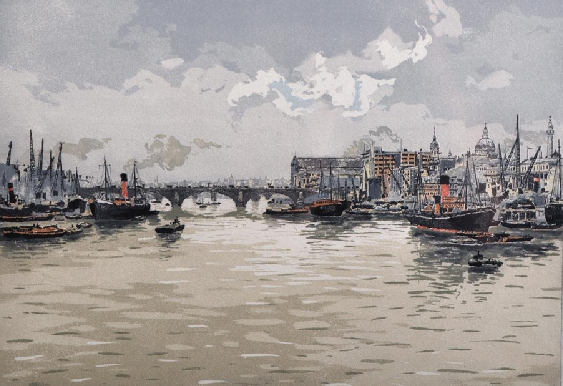 20th Century English School. A Thames Scene, Print in