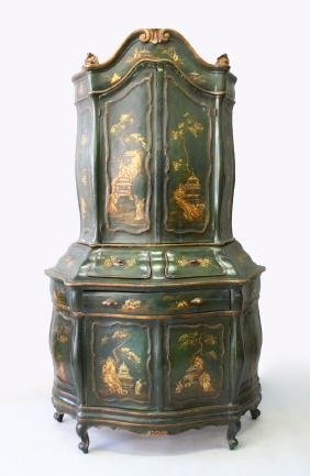 An 19th Century Dutch Lacquer Bombe Shaped Bookcase