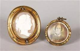 A VICTORIAN CAMEO BROOCH and a small portrait pendant
