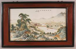 A CHINESE REPUBLIC STYLE WOOD FRAMED PORCELAIN PLAQUE,