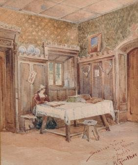 AÂ… Gunther (20th Century) German. Interior Scene With A